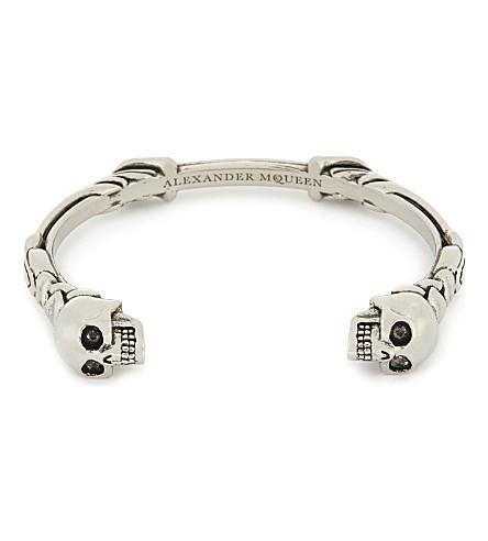 ALEXANDER MCQUEEN Twin textured skull bracelet (Silver
