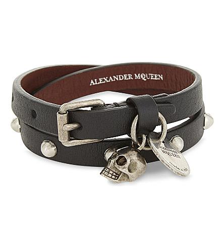 ALEXANDER MCQUEEN Leather skull charm double wrap bracelet (Black/silver