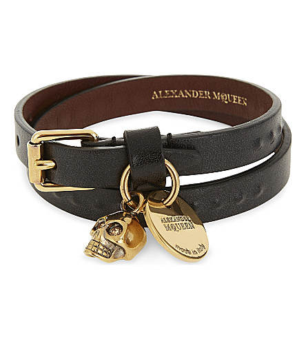 ALEXANDER MCQUEEN Leather skull charm double wrap bracelet (Black/gold