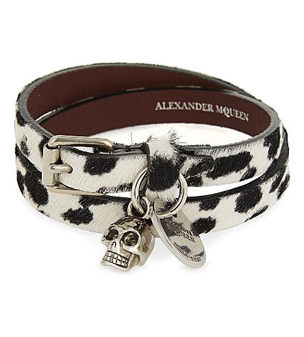 ALEXANDER MCQUEEN Ponyhair skull charm double wrap bracelet (Pony+w/b