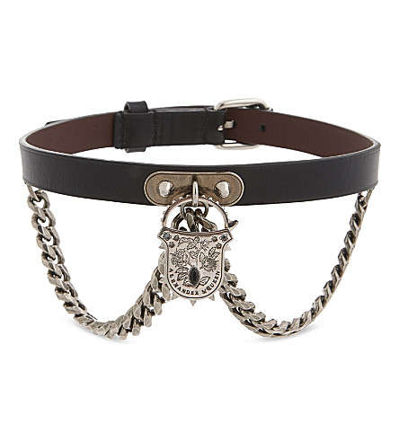 ALEXANDER MCQUEEN Padlock leather collar (Black/silver