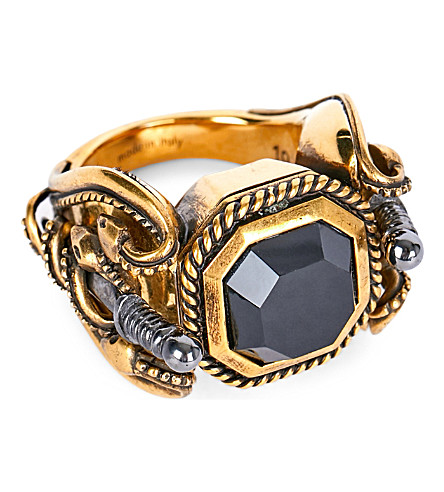 ALEXANDER MCQUEEN Aword and snake gold-toned ring (Black/gold