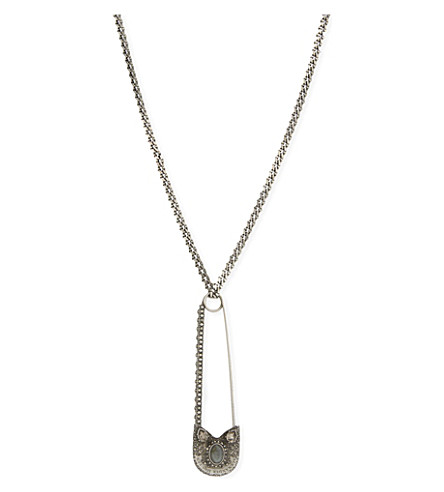ALEXANDER MCQUEEN Oversized safety pin necklace (Silver