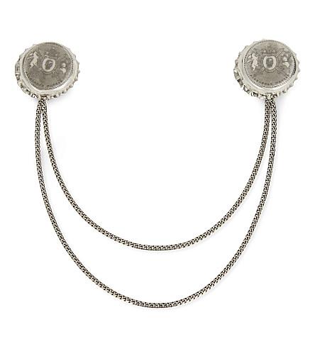 ALEXANDER MCQUEEN Double bottle cap collar tips (Silver