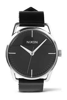 NIXON Mellor black leather strap watch