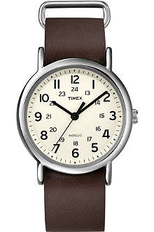 TIMEX Weekender Slip Thru leather watch
