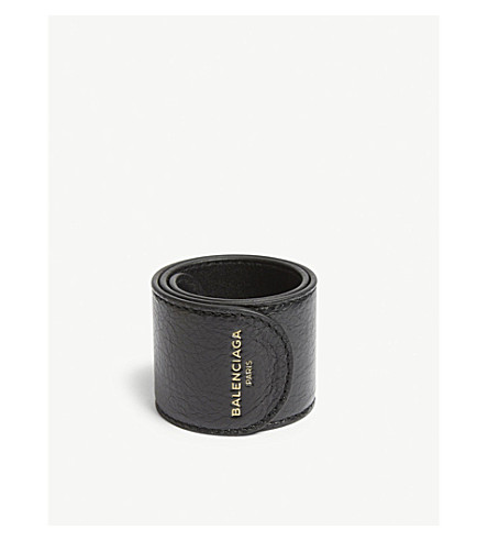 BALENCIAGA Leather snap bracelet (Black