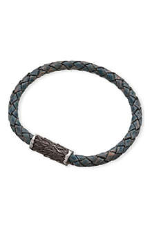 SEVEN JEWELLERY Single-plait leather bangle