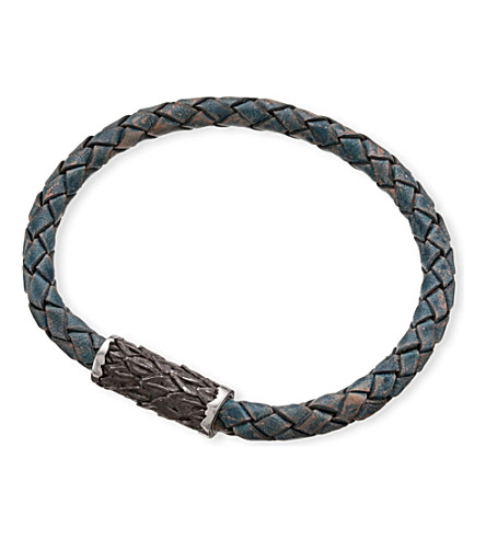 SEVEN JEWELLERY Single-plait leather bangle (Blue