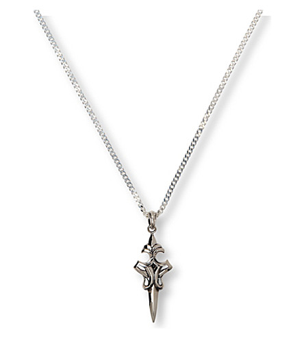 SEVEN JEWELLERY Dark Cross Dagger pendant (Sterling+silver