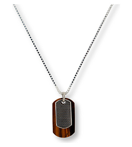 SEVEN JEWELLERY Tiger Eye lattice pendant (Sterling+silver