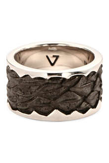SEVEN JEWELLERY Leather-detail silver band ring