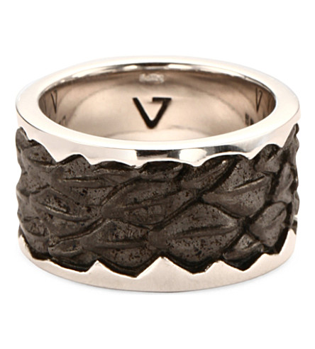 SEVEN JEWELLERY Leather-detail silver band ring (Silver