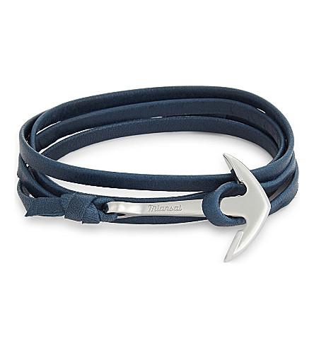 MIANSAI Anchor charm leather wrap bracelet (Slate