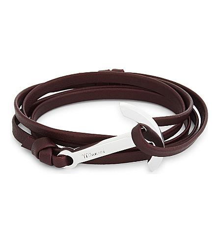MIANSAI Anchor charm leather wrap bracelet (Burgundy