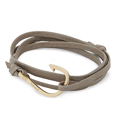 MIANSAI Fish hook matte leather wrap bracelet (Stone