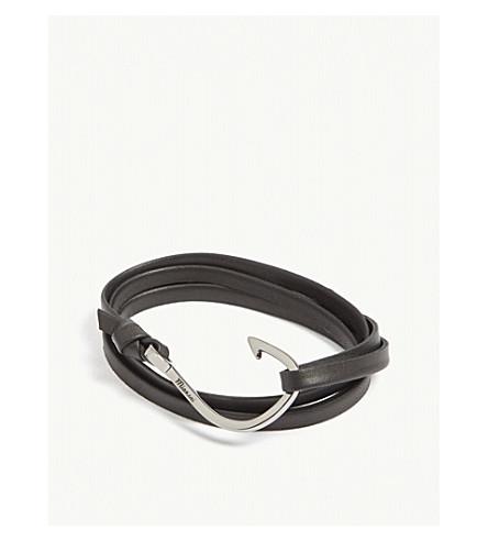 MIANSAI Hook leather wrap bracelet (Rodium+black