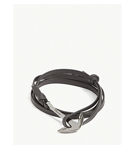 MIANSAI Anchor leather wrap bracelet (Rodium+black