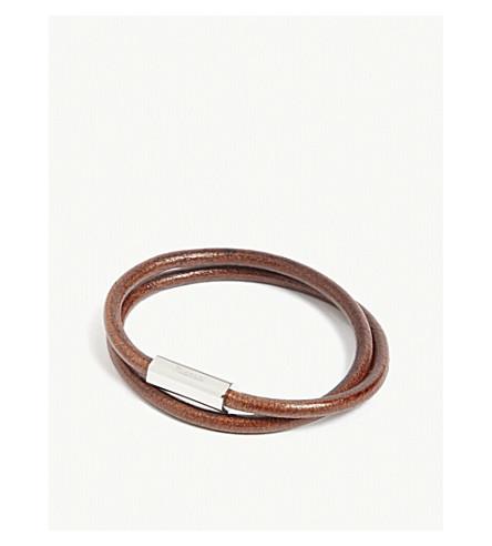 MIANSAI Bare double-wrap leather bracelet (Brown+silver