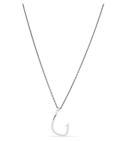 MIANSAI Oxidised sterling silver fish hook charm necklace (Silver