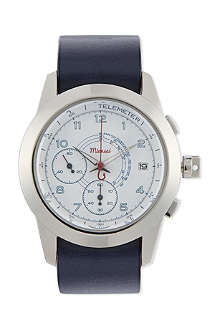 MIANSAI M2 white/navy leather watch