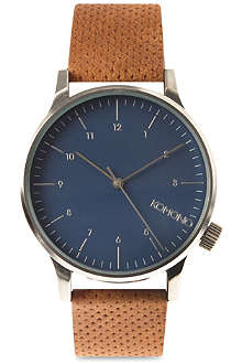 KOMONO Silver Blue Cognac watch