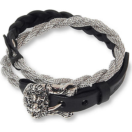 MARC BERNSTEIN NEW YORK Triple wrap lion bracelet (Black/rhodium