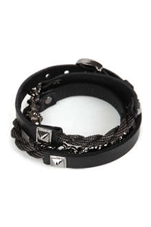 MARC BERNSTEIN NEW YORK Triple-wrap skull bracelet