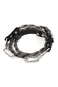 MARC BERNSTEIN NEW YORK Triple-wrap hammered-chain bracelet