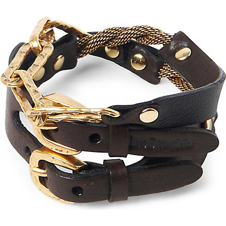 MARC BERNSTEIN NEW YORK Double buckle cuff with chain detail (Espresso/ant gold