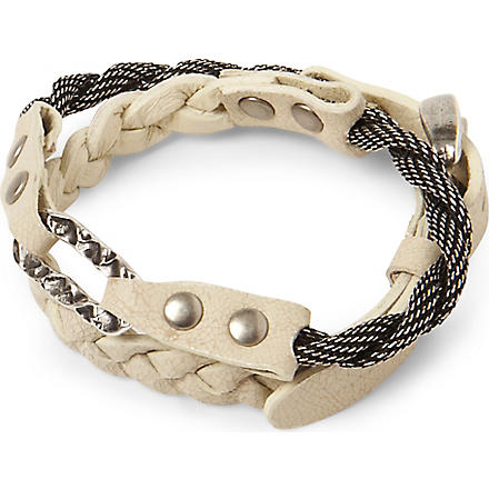 MARC BERNSTEIN NEW YORK Double wrap braided bracelet (Bone/ant silver