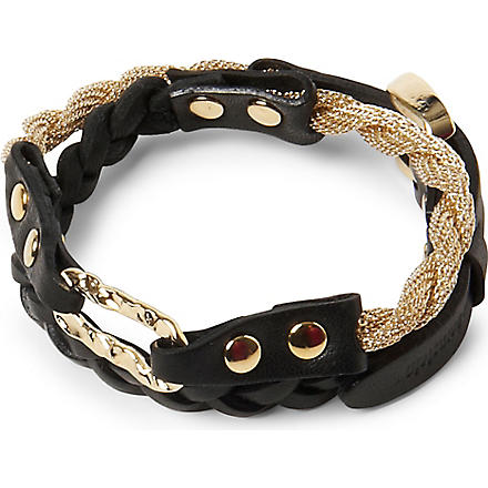 MARC BERNSTEIN NEW YORK Double wrap braided bracelet (Black/lt gold