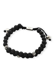 NIALAYA Lava stone and sterling silver double beaded bracelet