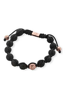 NIALAYA Lava stone and rose-gold plated bead bracelet