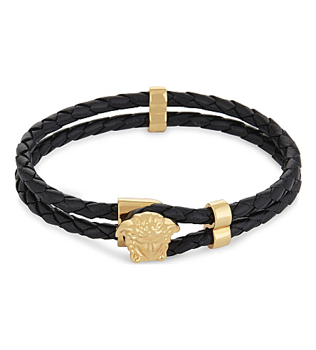 VERSACE Medusa leather bracelet (Black/gold