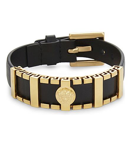 VERSACE Greco Medusa leather bracelet (Black/gold