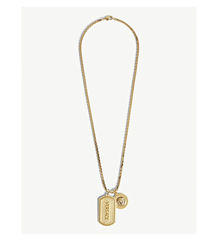 VERSACE Dogtag Medusa charm pendant necklace (Gold