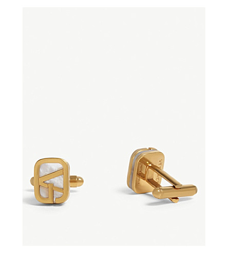 VERSACE Logo gold-toned metal and mother-of-pearl cufflinks (Gold+white