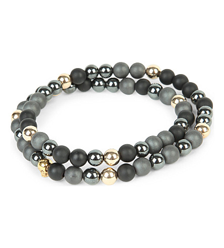 NIALAYA 14ct gold skull, matte onyx and matte hematite beaded bracelet (Grey+/+gold