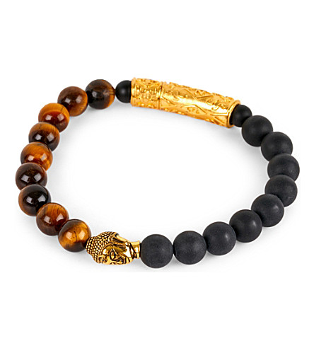 NIALAYA 18ct gold Buddha beaded bracelet (Black/brown