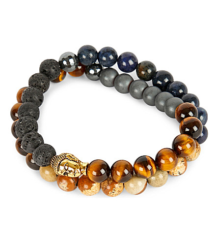 NIALAYA 18ct gold-plated sterling silver, hematite, lava stone, jasper and coral blue bracelet (Multi