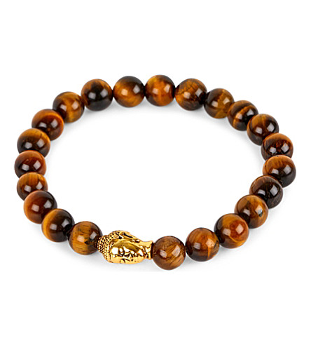 NIALAYA 18ct gold-plated sterling silver and tiger eye bracelet (Brown