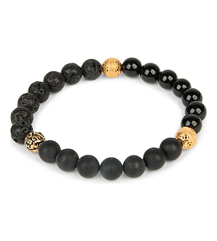 NIALAYA Matte onyx, agate and lava stone beaded bracelet (Black