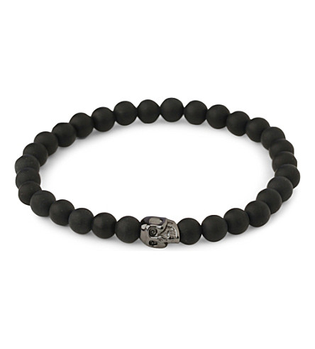 NIALAYA Matte onyx beaded skull bracelet (Black