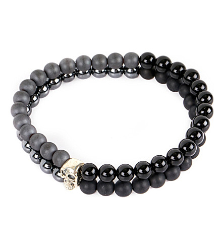 NIALAYA Skull beaded silver and onyx bracelet (Black