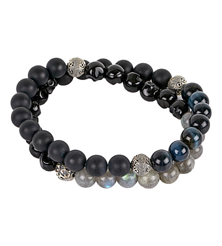NIALAYA Matte onyx and blue tigers eye beaded bracelet (Black+silver