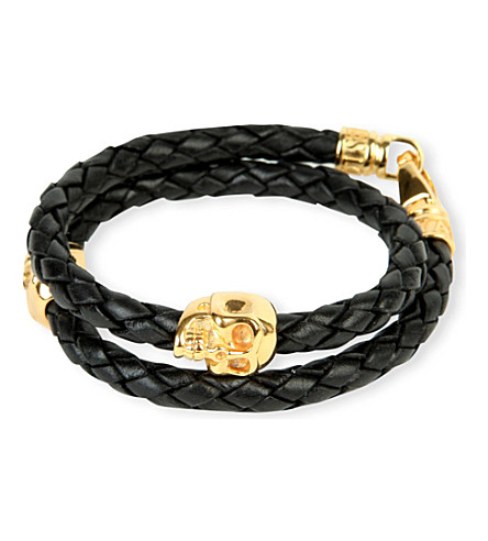 NIALAYA Braided leather and gold-plated skull bracelet (Black / gold