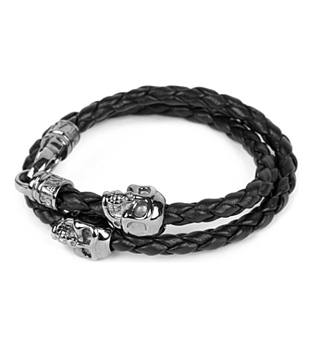 NIALAYA Braided leather and skull bracelet (Black+/+black