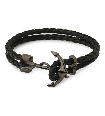 NIALAYA Anchor braided leather bracelet (Black+black