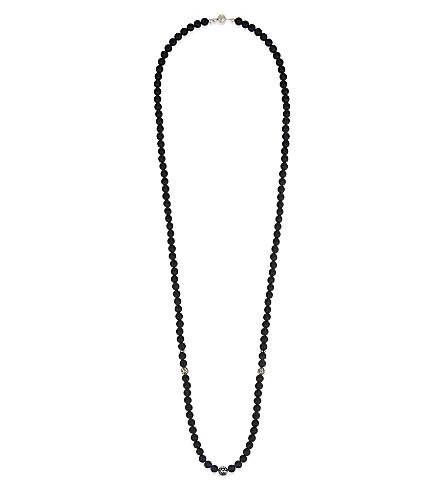 NIALAYA Matte onyx beaded necklace (Black
